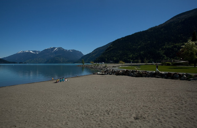 View of lake and beach at Harrison Beach Hotel.