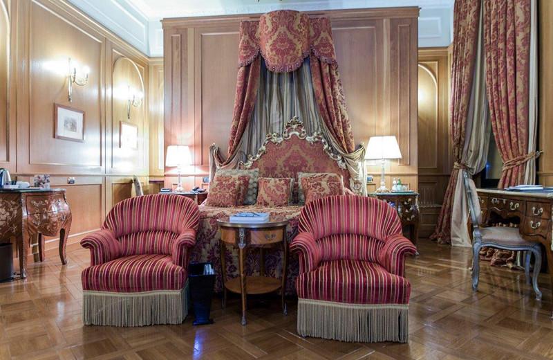 Guest room at Grand Hotel Baglioni.
