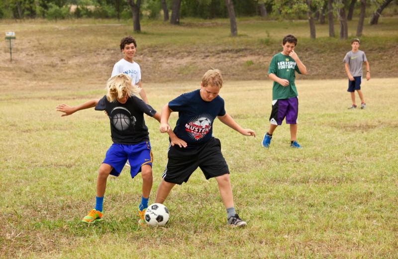 Soccer at Camp Balcones Spring.