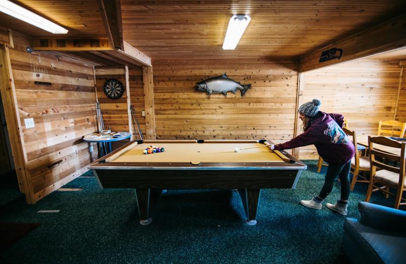Billiard table at Elfin Cove Resort.