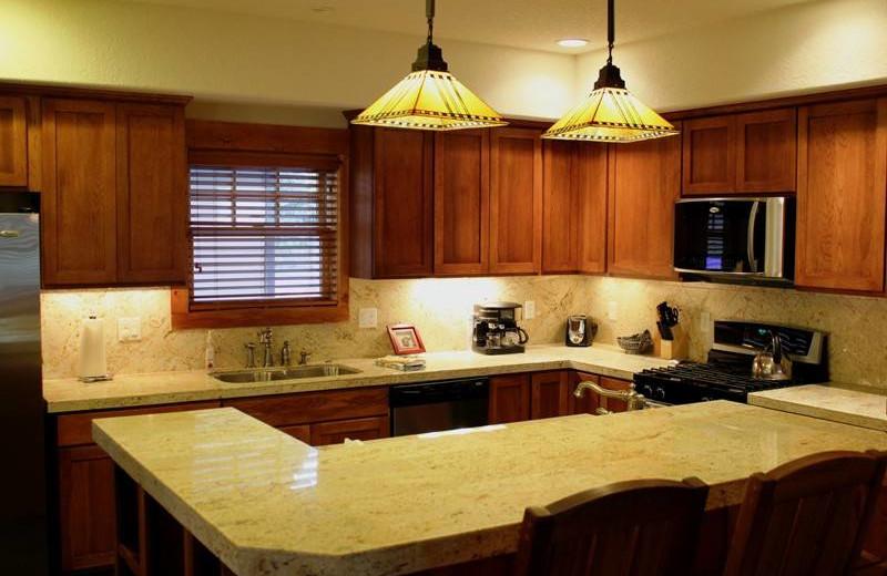 Vacation rental kitchen at Sisters Vacation Rentals.