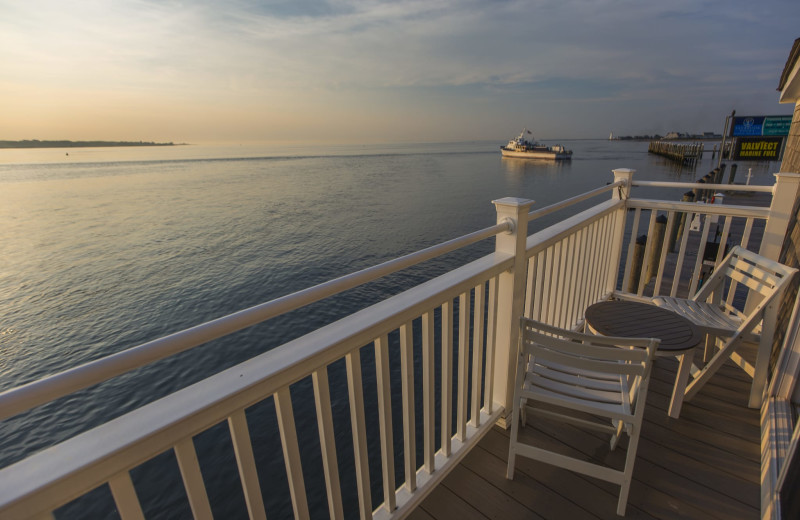 Guest balcony at Saybrook Point Inn, Marina & Spa.