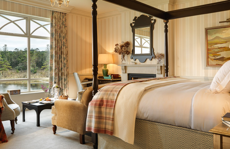 Guest room at Ballynahinch Castle.