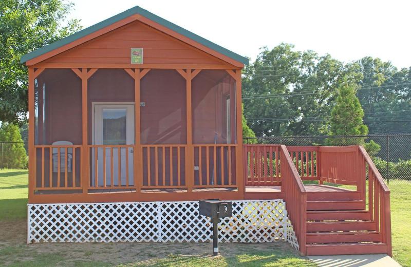 Cabin exterior at Yogi Bear's Jellystone Park Memphis.