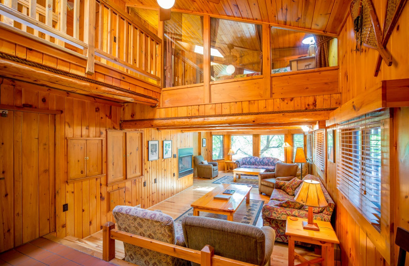 Cabin interior at Ludlow's Island Resort.