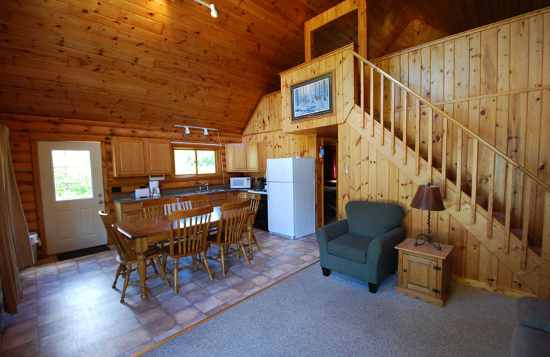 Cabin interior at Birch Forest Lodge.