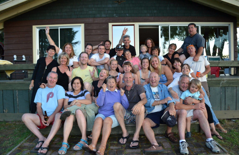 Family gathering at Sleep's Cabins.