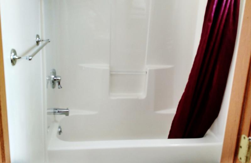 Guest bathroom at East Glacier Motel & Cabins.