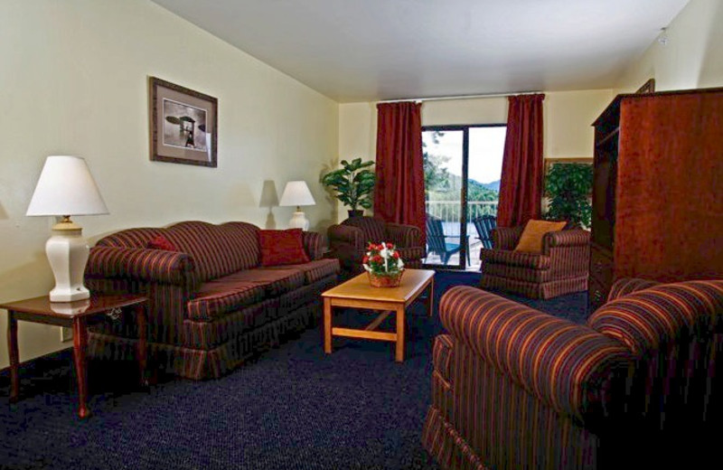 Guest living room at Lake Placid Summit Hotel Resort Suites.