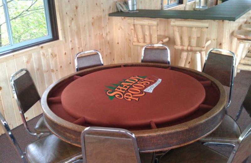 Poker table at Shady Roost Lodge.