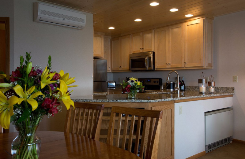 Guest kitchen at Bluefin Bay on Lake Superior.