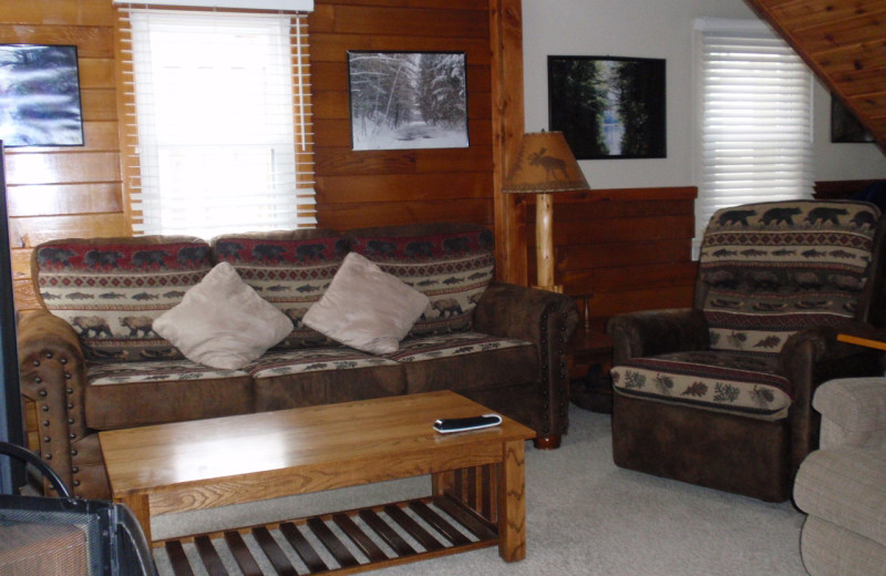 Cabin living room at Golden Rule Resort.