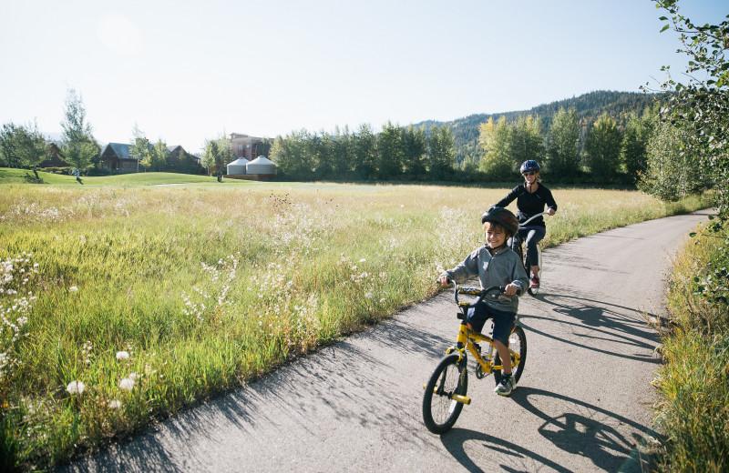 Biking at Teton Springs Lodge.