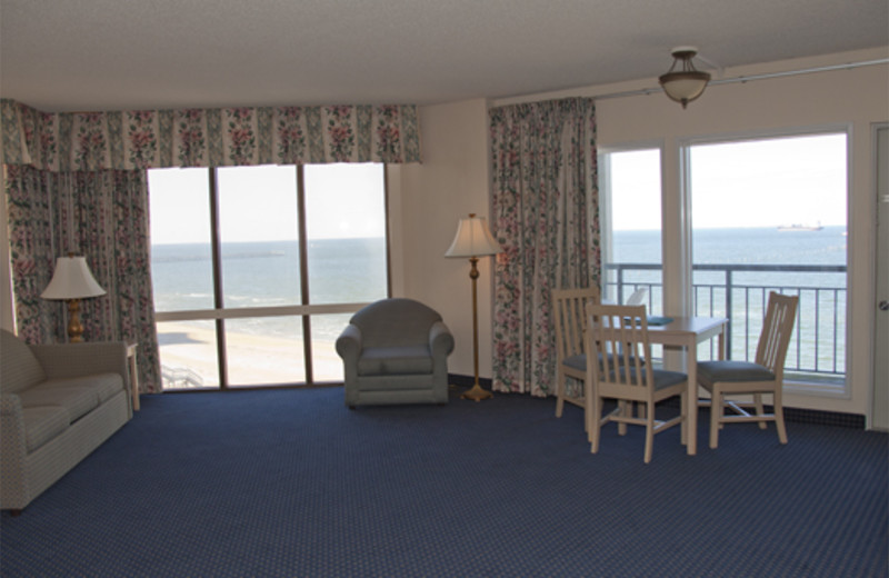 Beach view guest room at Virginia Beach Resort Hotel.