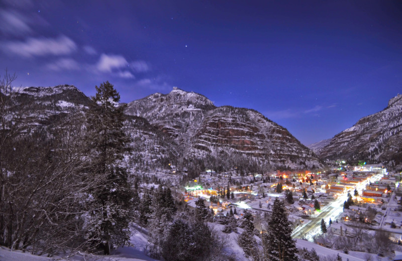 Winter town at Box Canyon Lodge & Hot Springs.