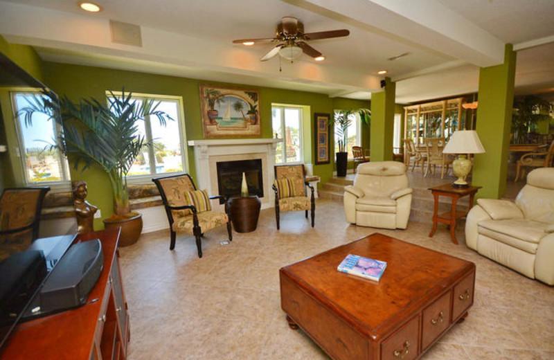 Rental living room at Elliott Beach Rentals.