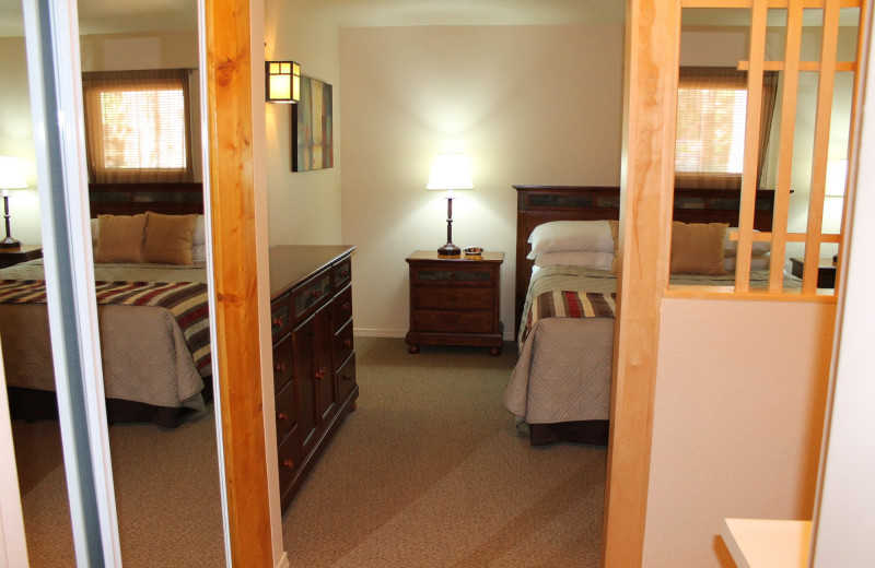 Cabin bedroom at Mount Shasta Resort.