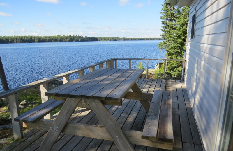 Cabin deck at Clark's Resorts & Outposts.
