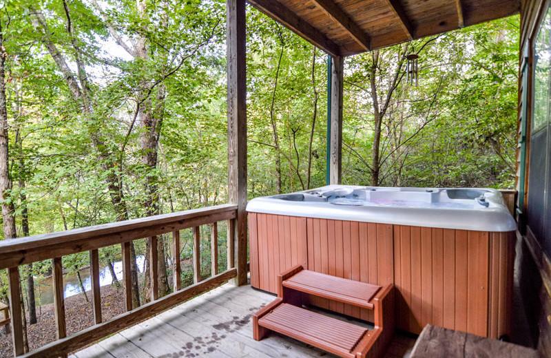 Rental hot tub at Little Bear Rentals.