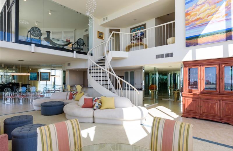 Rental living room at Padre Getaways.