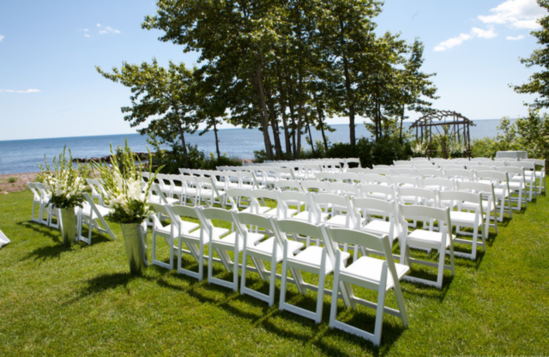 Wedding ceremony at Lutsen Resort on Lake Superior.