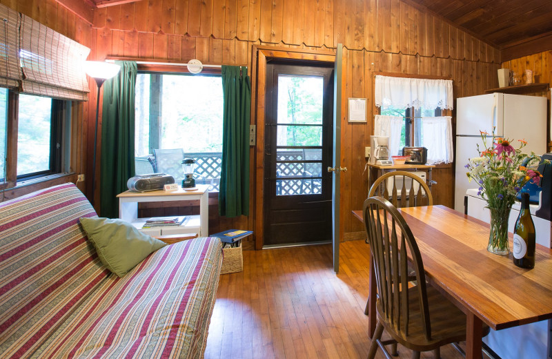Cabin living room at Montfair Resort Farm.