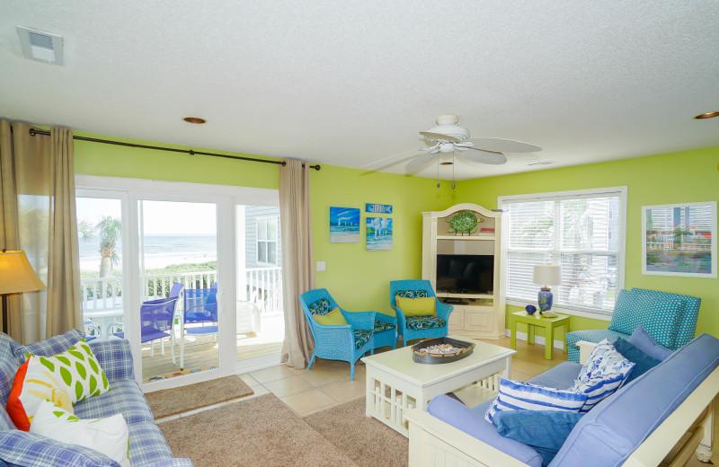 Rental living room at Sea Star Realty.