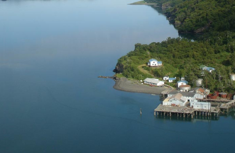 Aerial view of Zachar Bay Lodge.