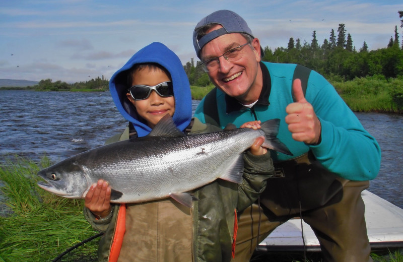 Family fishing at Alaska Trophy Adventures Lodge.