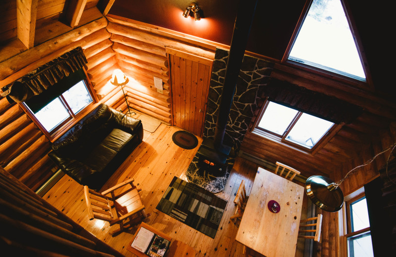 Interior of a cozy cabin at Falcon Beach Ranch