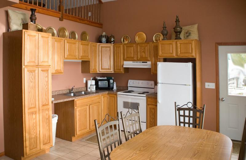 Cabin kitchen at Brophy Lake Resort.