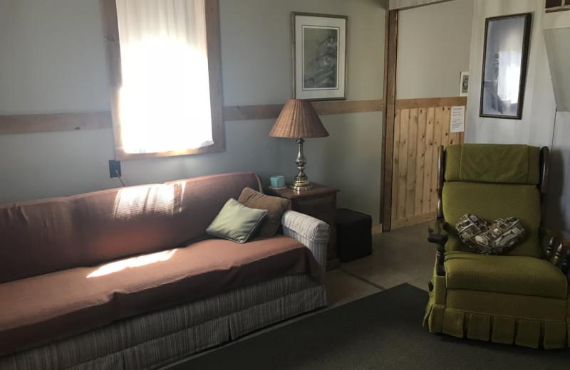 Cabin living room at Lake Leelanau Narrows Resort.