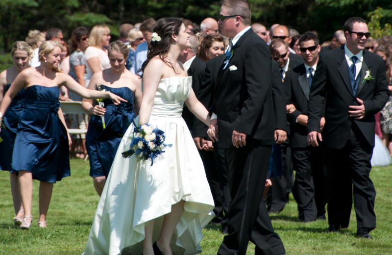 Wedding celebration in Jackson's Lodge meadow and gardens.