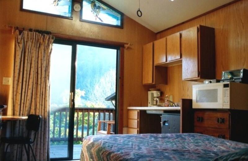 Cabin interior at Riverlane Resort.