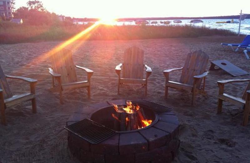 Beach fire at Tamarack Lodge.