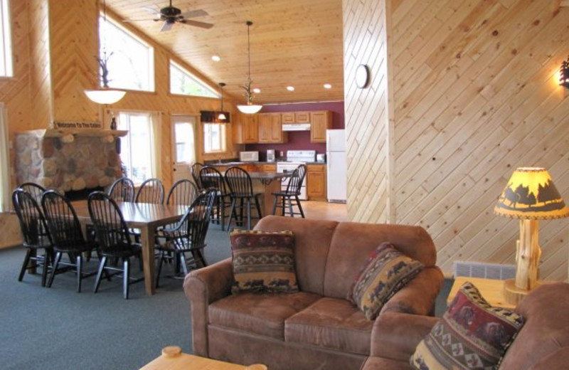 Cabin living room and dining area at Auger's Pine View Resort.