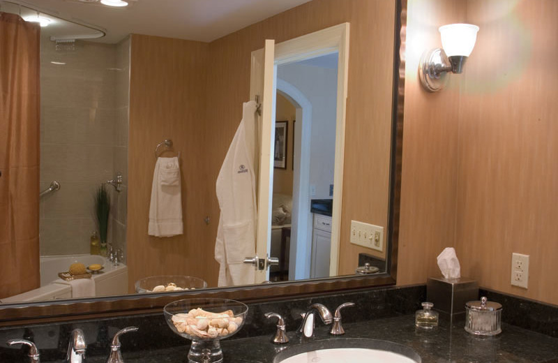 Guest bathroom at Hilton Suites Ocean City Oceanfront.