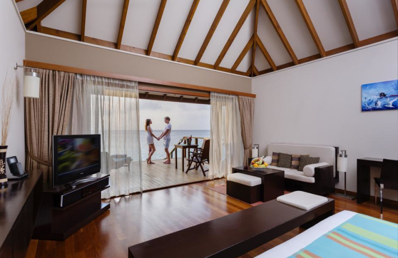 Guest room at Veligandu Island Resort.