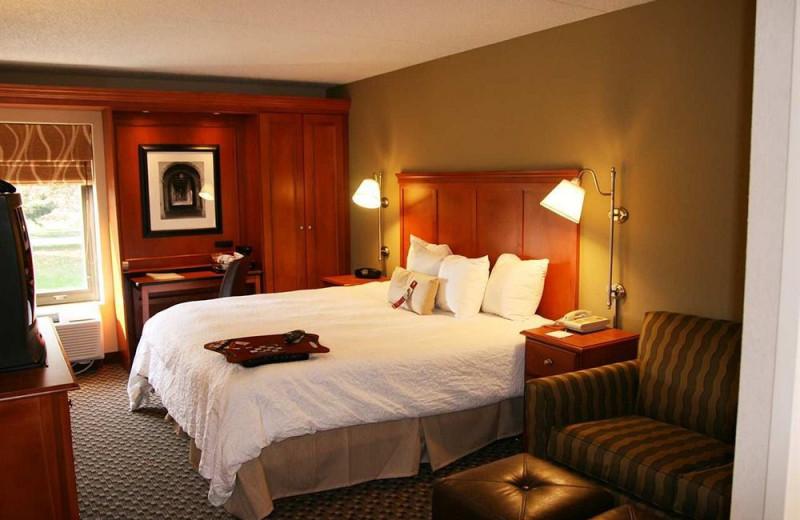 Guest room at Hampton Inn Detroit-Northville.