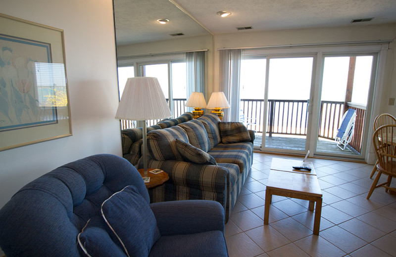 Condo living room at The Beach Condominiums Hotel-Resort.