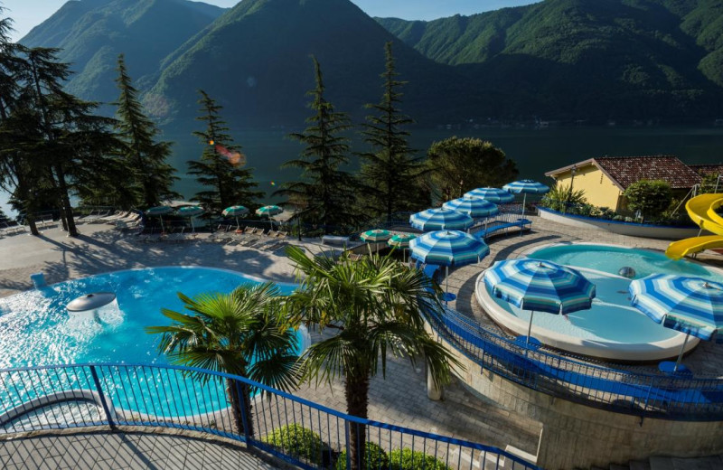 Outdoor pool at Parco San Marco at lake Lugano in Italy.