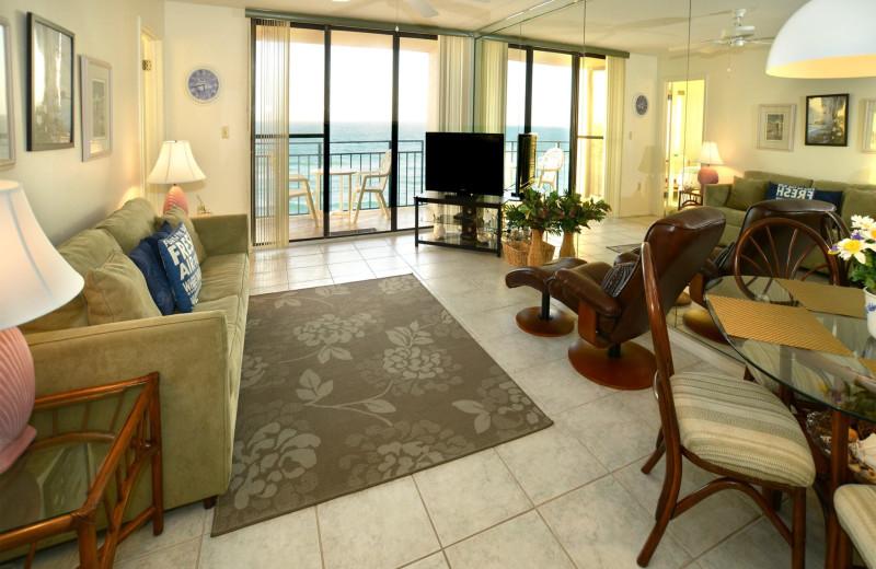 Guest living room at Nautilus Condominiums.