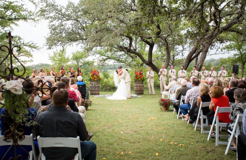 Wedding ceremony at Joshua Creek Ranch.