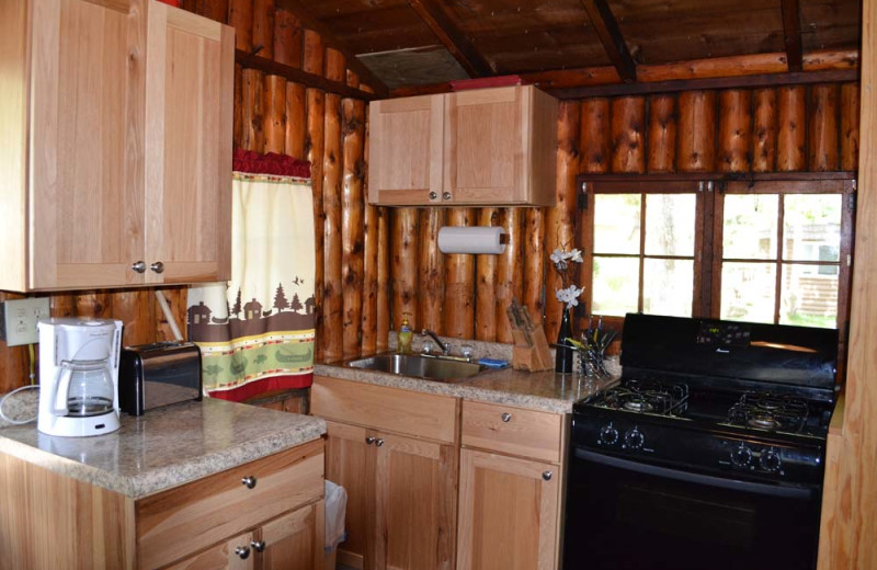 Cabin kitchen at Sand Lake Resort.