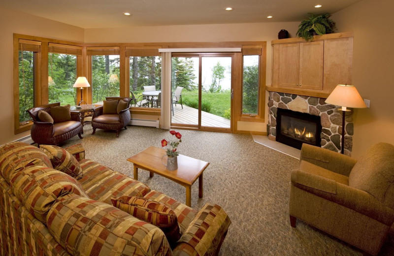 Guest living room at Lutsen Resort on Lake Superior.