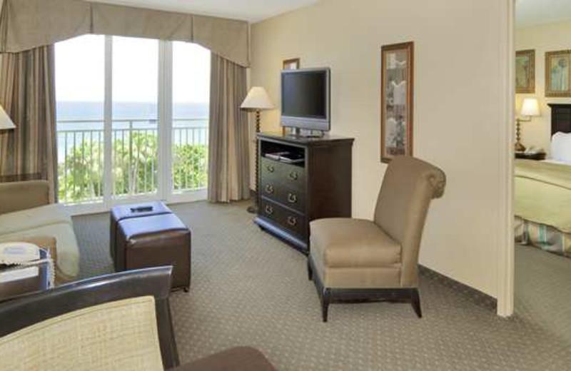 Guest suite at Embassy Suites Deerfield Beach Resort.
