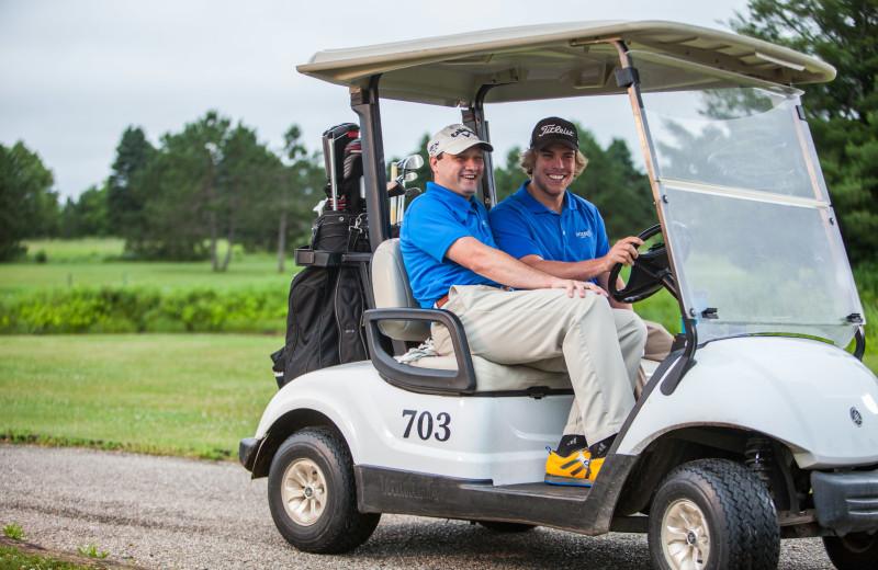 Golf carts at Evergreen Resort.