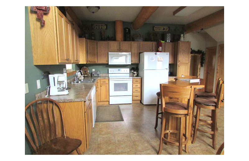 Rental kitchen at Heart of the Hills Vacation Homes.