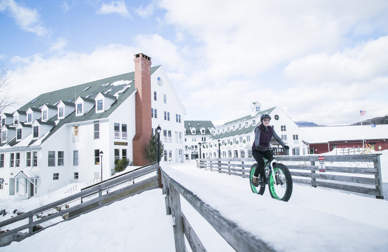 Winter biking at Black Bear Lodge.