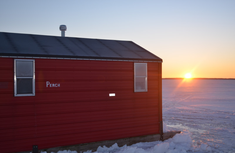 Ice fishing house at Arnesen's Rocky Point Resort.